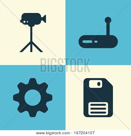 Hardware Icons Set. Collection Of Diskette, Camcorder, Router And Other Elements