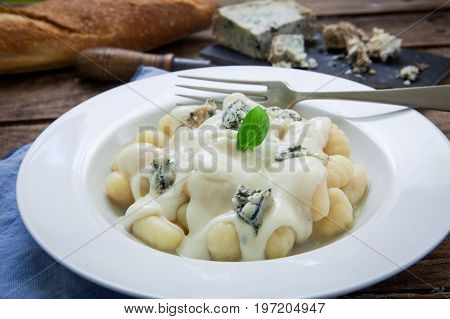 Homemade italian pasta with gorgonzola traditional cheese