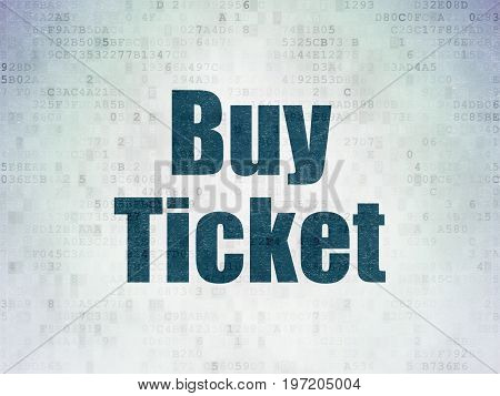 Travel concept: Painted blue word Buy Ticket on Digital Data Paper background