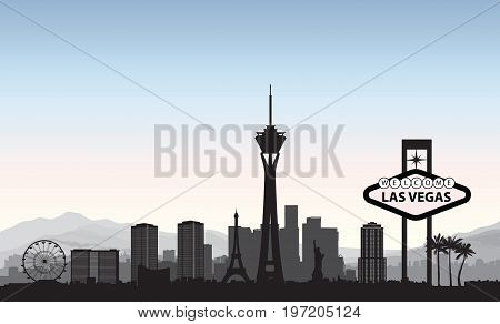 Las Vegas skyline. Travel american city landmark background. Urban cityscape. USA LAs-Vegas landscape