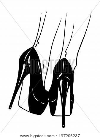 Hand drawn female legs in high heels and seamed stockings. Flash tattoo or print design in noir comics style vector illustration.