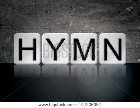 The word Hymn concept and theme written in 3D white tiles on a dark background.