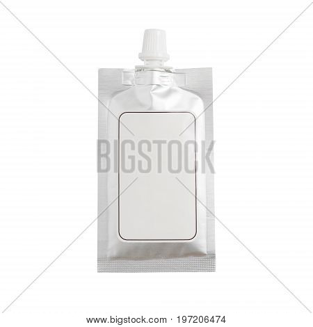 Blank Spout Pouch With Cap Or Doy Pack. Isolated On White Background With Clipping Path