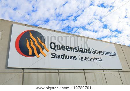 BRISBANE AUSTRALIA - JULY 9, 2017: Stadiums Queensland. Stadiums Queensland manages the use of major sporting and entertainment facilities on behalf of the Queensland Government.