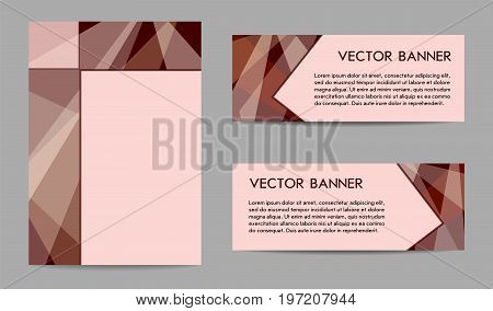 Set of layouts for banners and covers (magazine, brochure, prospectus, annual report, poster). Geometric backgrounds with text place, technology templates, dark brown, chocolate tones. EPS10 vector illustration