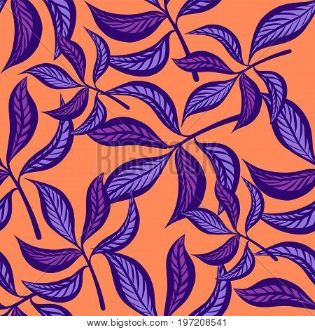 Floral hand drawn vintage seamless pattern with leaves. Fabulous lilac leaves on peachy background. Tropical seamless pattern with exotic vivid leaves. Exotic textile botanical design. Summer design. Vector illustration.