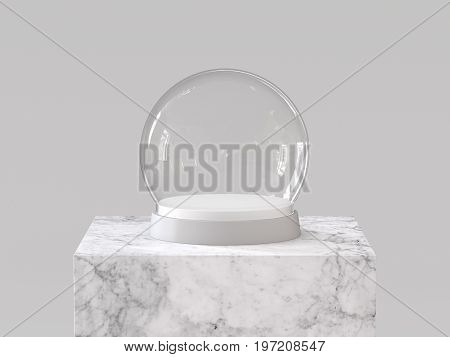 Empty snow glass ball with white tray on white marble podium. 3D rendering.