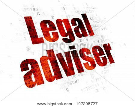 Law concept: Pixelated red text Legal Adviser on Digital background