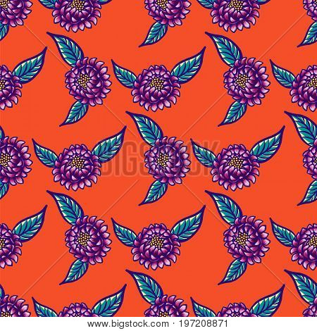 Floral hand drawn vintage seamless pattern with flowers and leaves. Fabulous purple flowers and blue leaves on a red background. Tropical seamless pattern with exotic vivid leaves. Exotic textile botanical design. Summer design. Vector illustration.