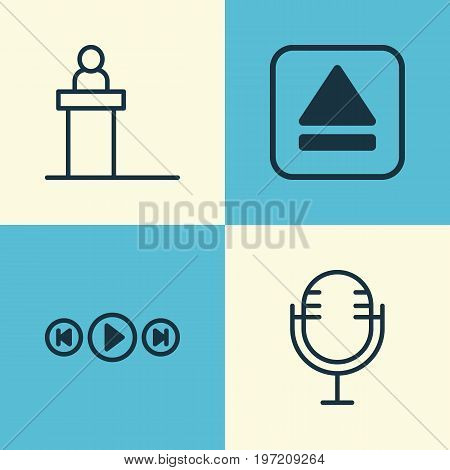 Multimedia Icons Set. Collection Of Audio Buttons, Rostrum, Mike And Other Elements