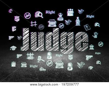 Law concept: Glowing text Judge,  Hand Drawn Law Icons in grunge dark room with Dirty Floor, black background