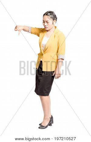 Portrait Of A Beautiful  Asian Woman Smiling And Pointed The Finger To Left Side. Isolated On White