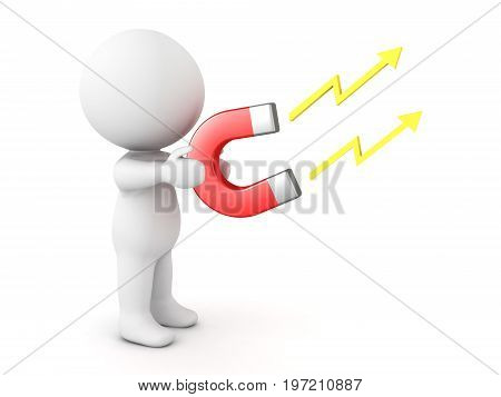 3D Character holding in his hands electromagnet. Isolated on white.