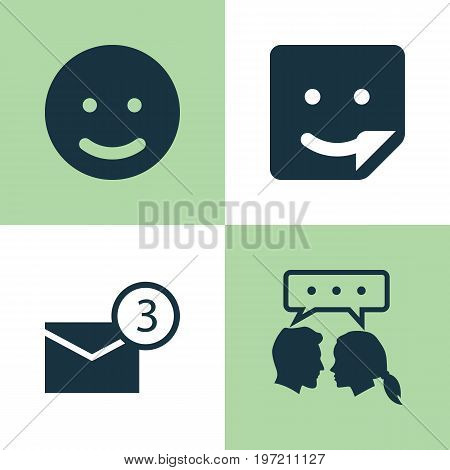 Social Icons Set. Collection Of Chat, Smile, Conversation And Other Elements