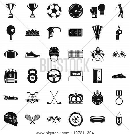 Achievement icons set. Simple style of 36 achievement vector icons for web isolated on white background