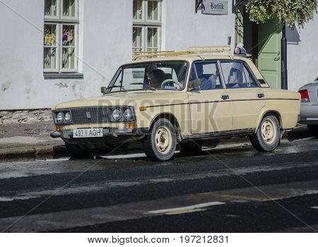 SAAREMAA, ESTONIA 7TH SPETEMBER 2012 - A vintage Lada car parked in the street Kuressaare Laaremaa Estonia