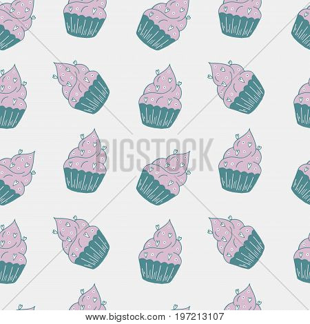 Yummy Seamless Pattern With Sweet Hand Drawn Color Cupcake.
