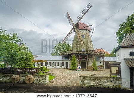 SAAREMAA, ESTONIA 7TH SPETEMBER 2012 - Stone windmill at Kuressaare on the island of Saaremaa Estonia