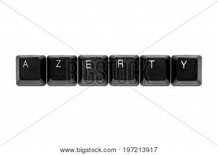 black azerty keyboard keys on white background