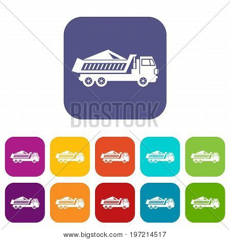 Dump track icons set vector illustration in flat style in colors red, blue, green, and other
