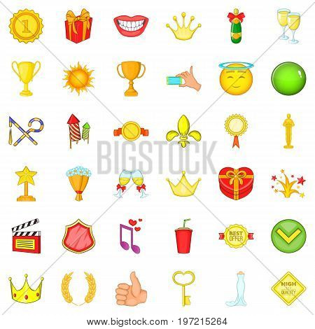 Cinema award icons set. Cartoon style of 36 cinema award vector icons for web isolated on white background