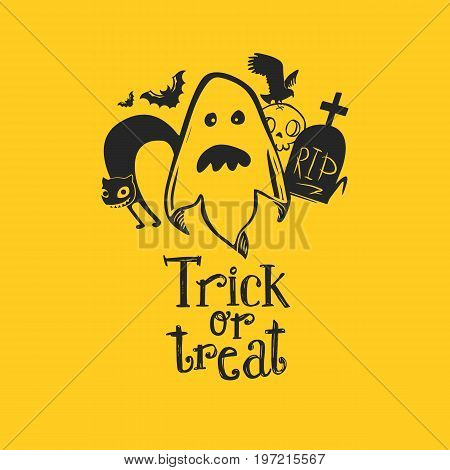 Ghost with friends and Trick or Treat t vector illustration. Happy Halloween invitation to Halloween party. Cloud frame yellow background. Sketch design. Cat, RIP grave, bird, skull and bats