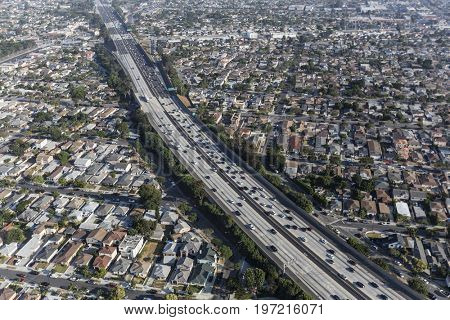 Aerial view of the San Diego 405 Freeway in Los Angeles County, California.