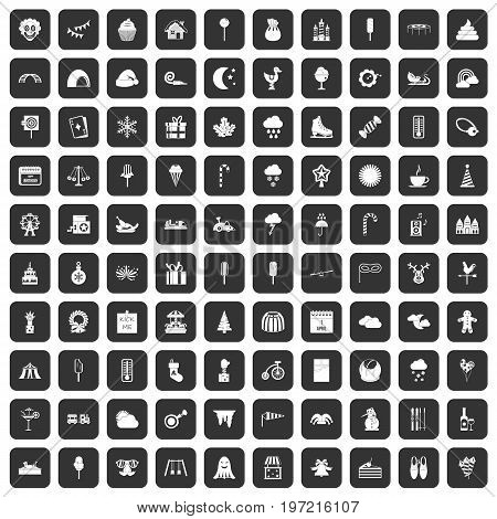 100 childrens parties icons set in black color isolated vector illustration