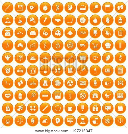 100 libra icons set in orange circle isolated on white vector illustration