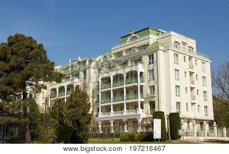 SAINTS CONSTANTINE AND HELENA, BULGARIA - April 27, 2015: hotel Romance Saints Constantine and Helena, the oldest first sea resort of Bulgaria, exists from 19 century.