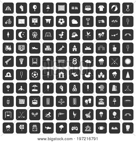100 childrens playground icons set in black color isolated vector illustration