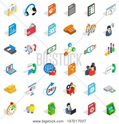 Globe statistics icons set. Isometric style of 36 globe statistics vector icons for web isolated on white background