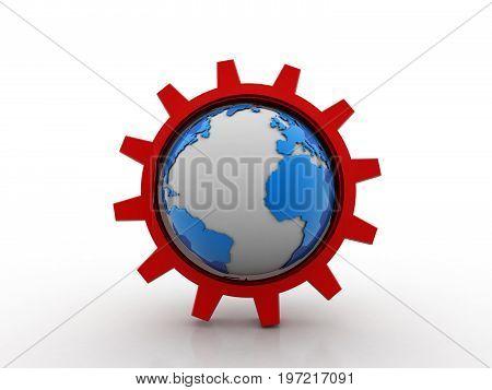 3d rendering Earth globes with gear, Gear Mechanism