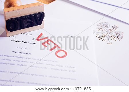 Polish Law Act With Red Veto Stamp.