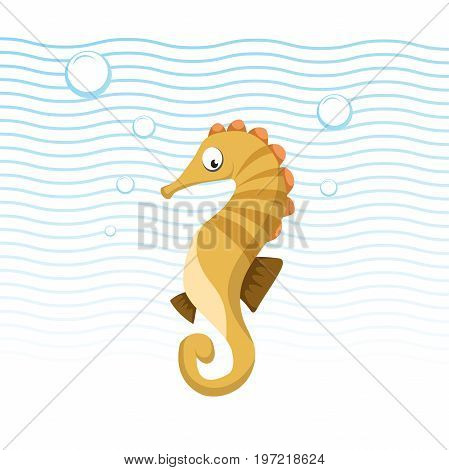 Trendy cartoon sea horse swimming underwater. Kid education flat design. Blue waves and bubbles. Vector icon.