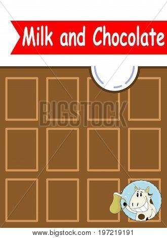 Yummy milk chocolate bar with sweet cow badge. Cartoon design