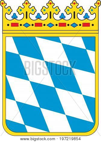 Coat of arms of Free State of Bavaria of Germany. Vector illustration from the