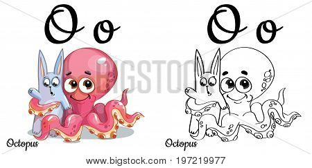 Vector alphabet letter O for children education with funny cartoon pink octopus and bunny. Isolated. Learn to read. Coloring page.