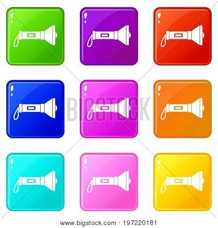 Lantern icons of 9 color set isolated vector illustration