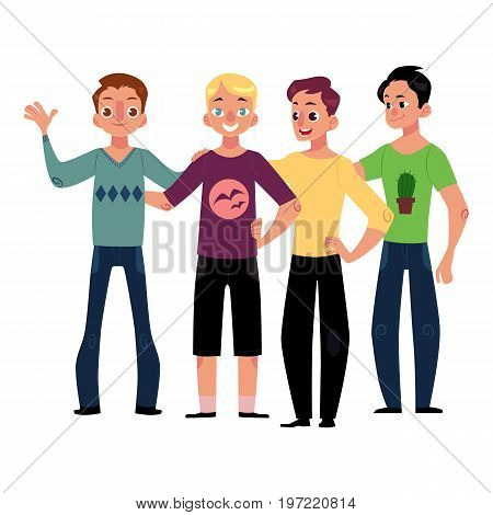 Male friendship concept of boys, men, best friends hugging each other, cartoon vector illustration isolated on white background. Boys, men, friends standing and hugging each other