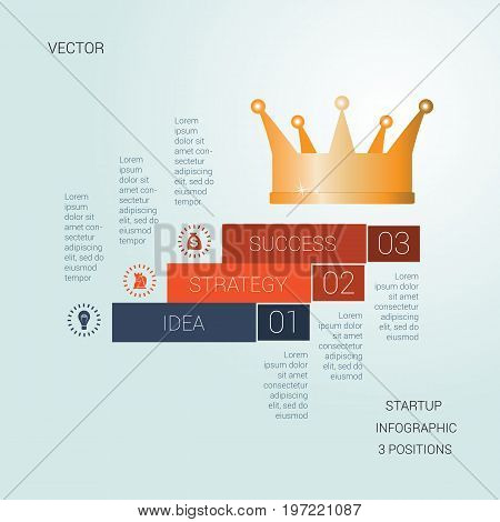 Vector template startup success for three positions Conceptual infographics steps up stairs and crown possible to use for workflow banner diagram web design timeline area chart number options step up options