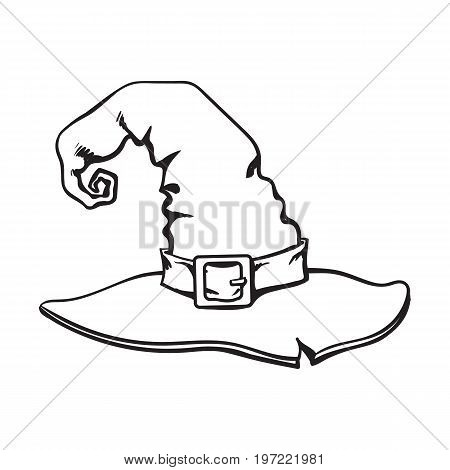 black and white wizard pointed hat, Halloween decoration element, sketch style vector illustration isolated on white background. Hand drawn witch hat, Halloween object, decoration element