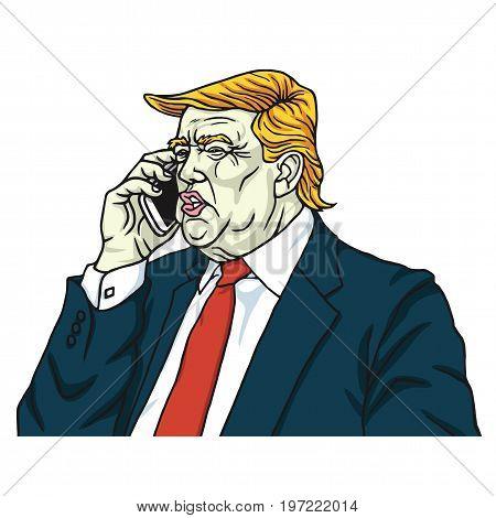 Donald Trump on Mobile Phone. Cartoon Vector Illustration. July 28, 2017