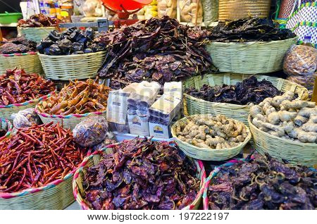OAXACA MEXICO-MARCH 5: Chilli and chocolate for sale in a marketplace in Oaxaca Mexico on March 5 2017