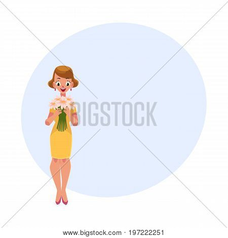 Woman, girl in yellow dress holding bunch of daisy flowers, cartoon vector illustration with space for text. Full length portrait of girl, woman holding bunch of flowers, happy and surprised