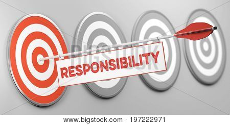 Responsabilty on compass as responsible business concept (3D Rendering)