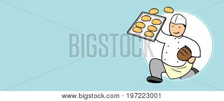 Fast baker delivery service man holding bread buns