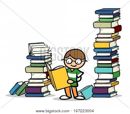 Cartoon child with glasses reading a book next to many other books