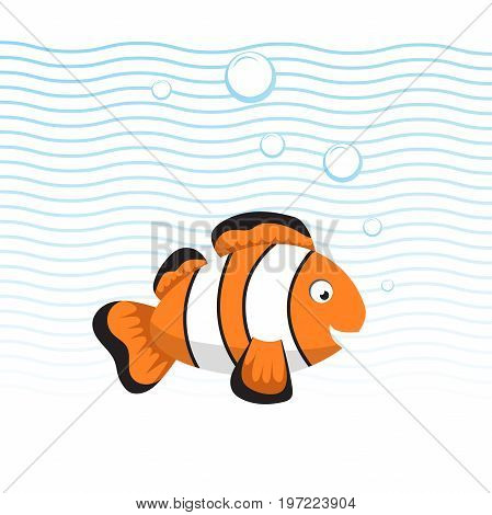 Cute cartoon style clown fish swimming underwater. Waves and bubbles. Trendy flat simple gradient vector illustration.