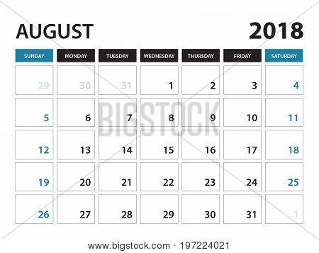Printable calendar for August 2018 Planner design template Week starts on Sunday Stationery design